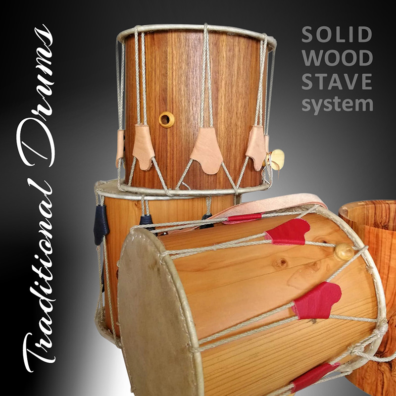traditional drums solid wood