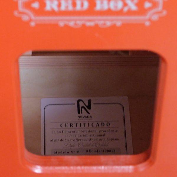 Certificado de calidad NEVADA cajon flamenco Red Box