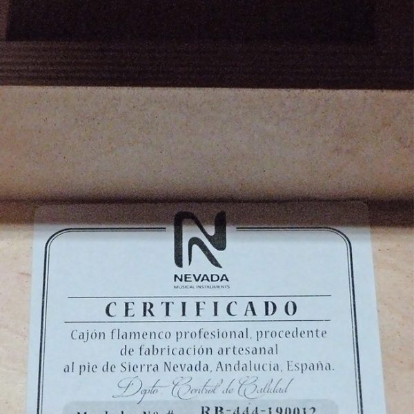 Certificado de calidad NEVADA cajones flamencos