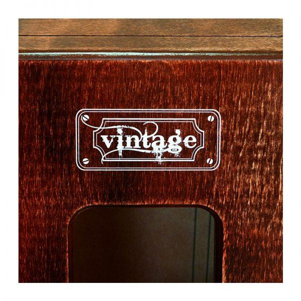 Detalle de la tapa trasera del cajón flamenco Nevada Vintage, rojizo